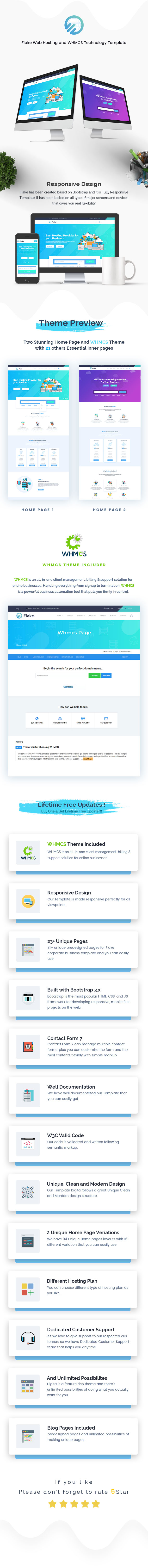 Flake Web Hosting and WHMCS Technology Template, Gobase64