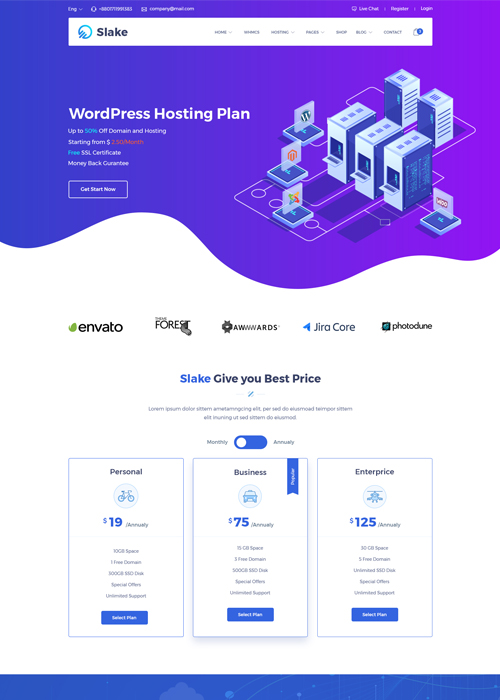 Slake - Web Hosting, Domain and WHMCS Hosting Template